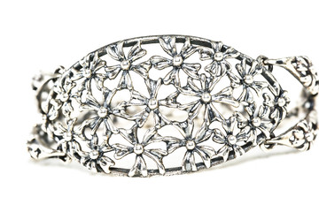silver bracelet with flower Mathivet