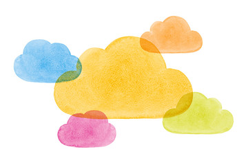 Watercolor Painted Social Networking Clouds Blue Yellow Green Pi