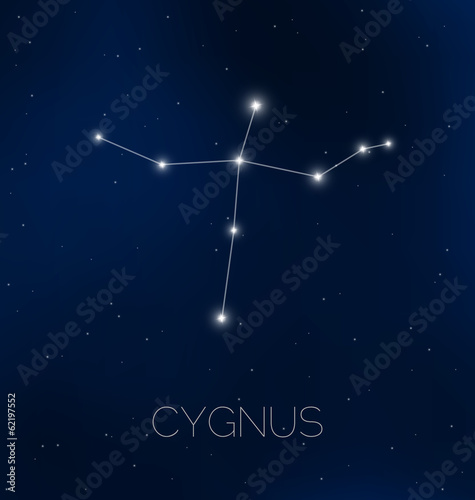 Cygnus constellation in night sky