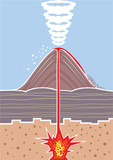 Volcano Eruption Technical Drawing