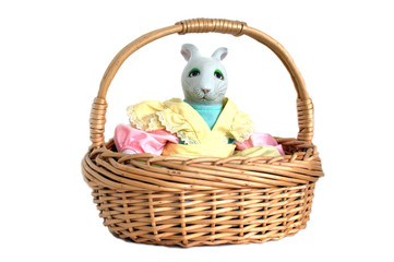 Ceramic Bunny in a Wicker Basket