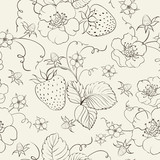 Seamless pattern of bright strawberry