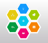 Abstract design with hexagons for web or marketing