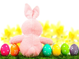 Pink toy Easter bunny on grass with colorful eggs and daffodils