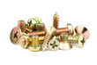 A small assortment of bronze-colored screws - 62199755
