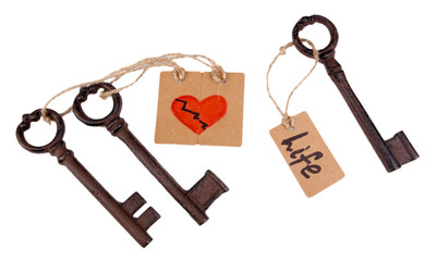 Keys to love, Conceptual photo. Isolated on white