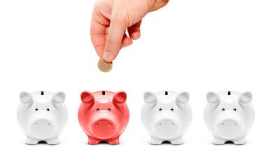 Nur ein Sparschwein bekommt eine Münze