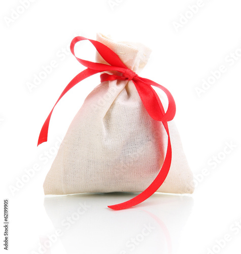 Textile sachet pouch isolated on white