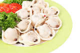 Meat dumplings - russian boiled pelmeni in plate