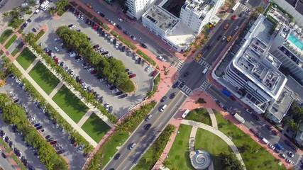 Aerial Miami Beach park and buildings