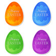 Happy Easter in four colors easter eggs with flowers