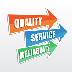quality, service, reliability in arrows, flat design