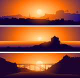 Vector illustration of Panoramic views of Porto. Portugal