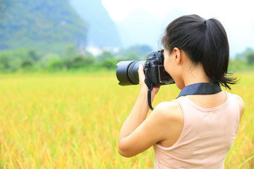 woman photographer taking photo in the rice paddy