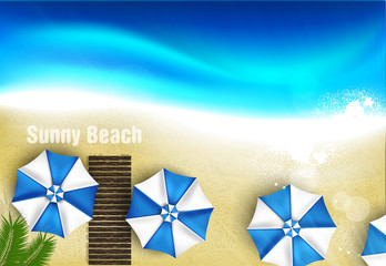 Azure coast with beach umbrellas, palm tree