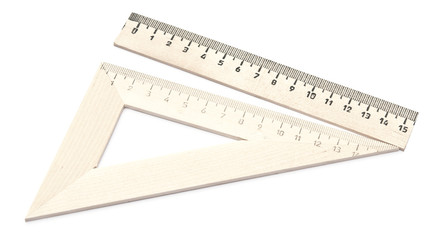 wooden school rulers set isolated on white