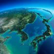 Leinwanddruck Bild - Detailed Earth. Korea and Japan