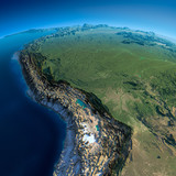 Detailed Earth. Bolivia, Peru, Brazil