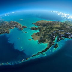 Detailed Earth. Chukotka, Alaska and the Bering Strait © Anton Balazh