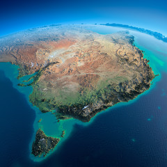 Detailed Earth. Australia and Tasmania