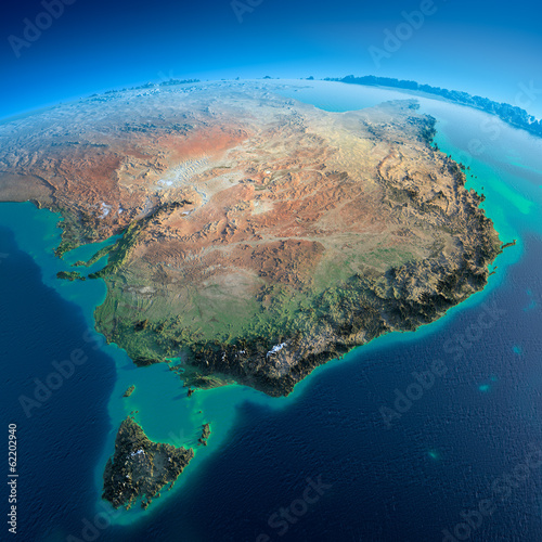 Leinwanddruck Bild Detailed Earth. Australia and Tasmania