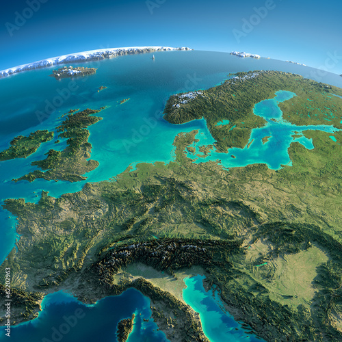 Detailed Earth. Central Europe
