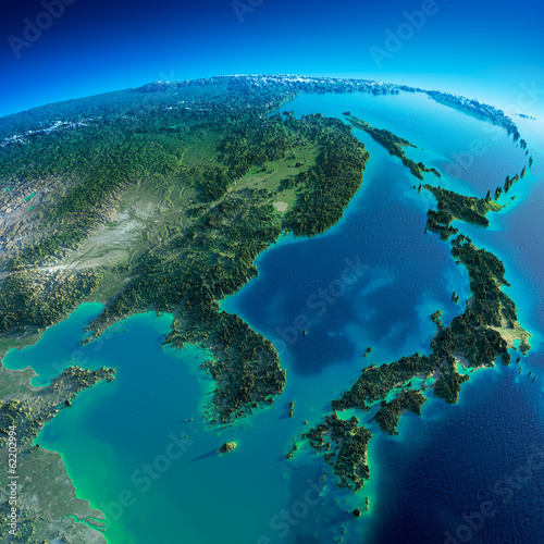Leinwanddruck Bild Detailed Earth. Korea and Japan