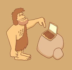 Caveman getting in touch with technology