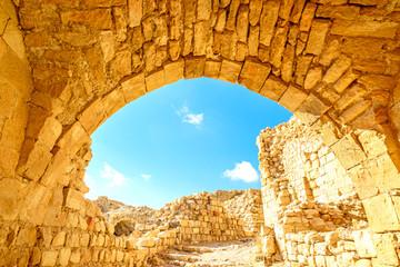 Roman ruins of Shawbak castle in Shawbak, Jordan.
