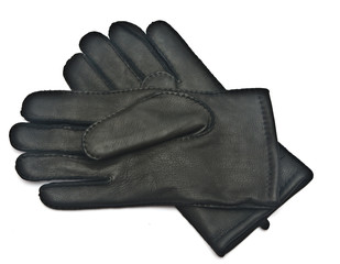 Pair of men's black leather gloves isolated on white background