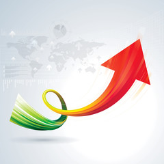 Growth arrow sign with business background.
