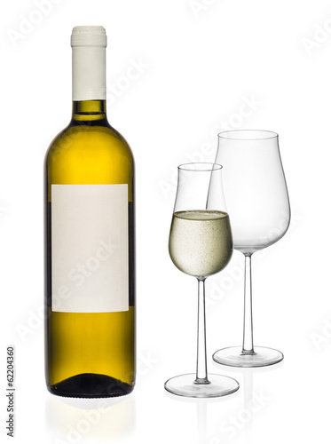White wine bottle and glasses