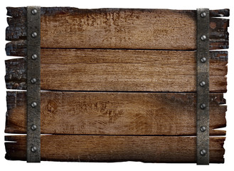 medieval wood sign board isolated