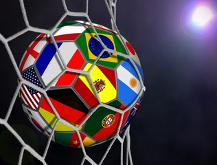 Soccer Ball with Team Flags in Goals Net