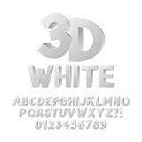 Abstract White 3D Plastic Alphabet and Numbers, Eps 10 Vector