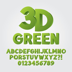 Abstract Green 3D Plastic Alphabet and Numbers, Eps 10 Vector