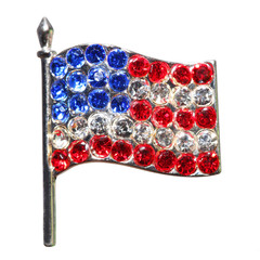 American Flag from Diamonds or Rhinestones isolated on white