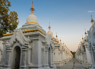 Kuthodaw Pagoda in Mandalay, Myanmar. The largest book of the wo