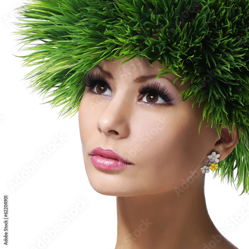 Spring Woman. Beautiful Girl with Green Grass Hair