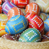 Decorative Easter eggs in a Basket