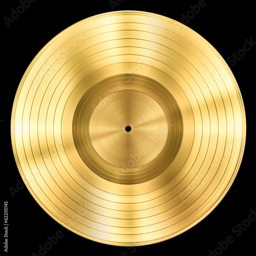 Foto op Canvas Muziekwinkel gold record music disc award isolated on black
