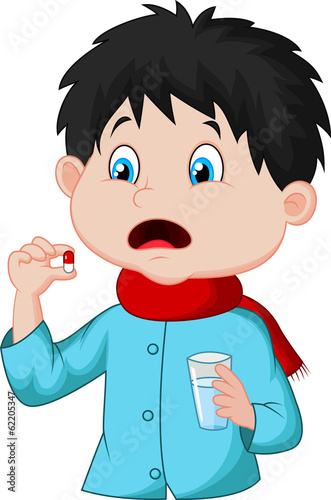Sicked boy swallows pill