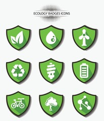 Ecology badges,green version,vector