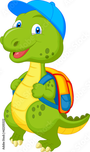 Cute dinosaur with backpack - 62205522