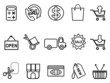 shopping icons set - line form
