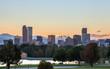 Denver downtown skyline at sunset