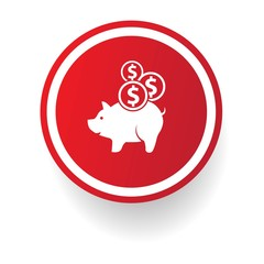 Saving money button, vector