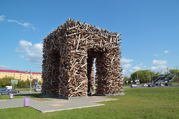 PERM, RUSSIA - MAY 23, 2013: Russian big letter P made of logs