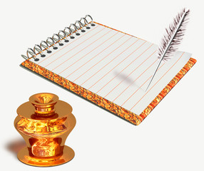 Gold inkwell and notebook