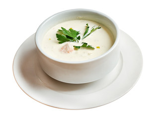 Norwegian soup with salmon